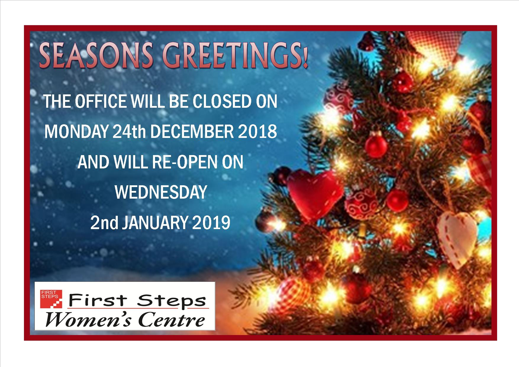 First Steps Christmas Closure 2018